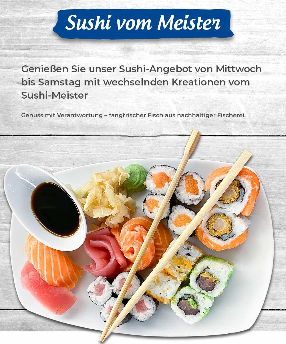 leckerer Sushi Teller mit verschiedenen Sushi Kreationen