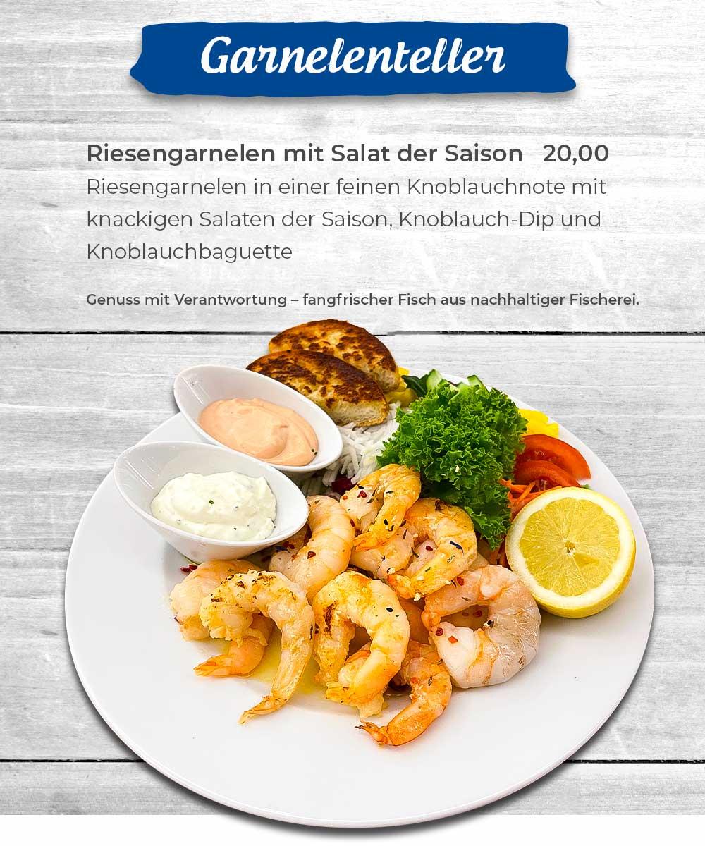 Angebot Garnelenteller mit Riesengarnelen in einer feinen Knoblauchnote, knackigem Salat und Knoblauchbaguette
