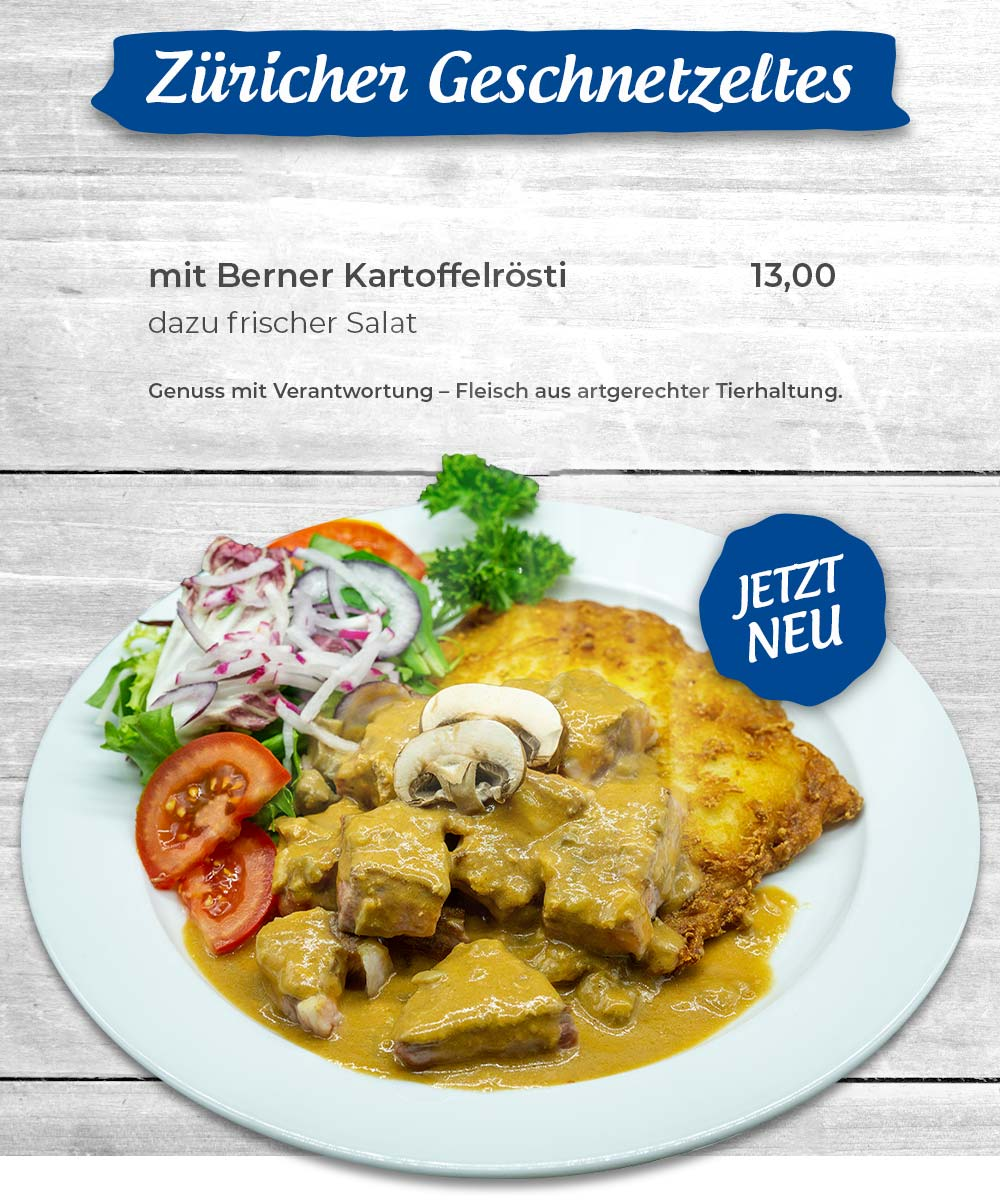 Züricher Geschnetzeltes mit Berner Kartoffel Rösti und frischem Salat