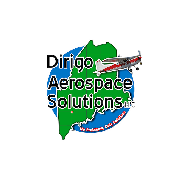 Dirigo Aerospace Solutions logo: Image of the state of Maine with the text 'Dirigo Aerospace Solutions' over it and a small plane flying by.