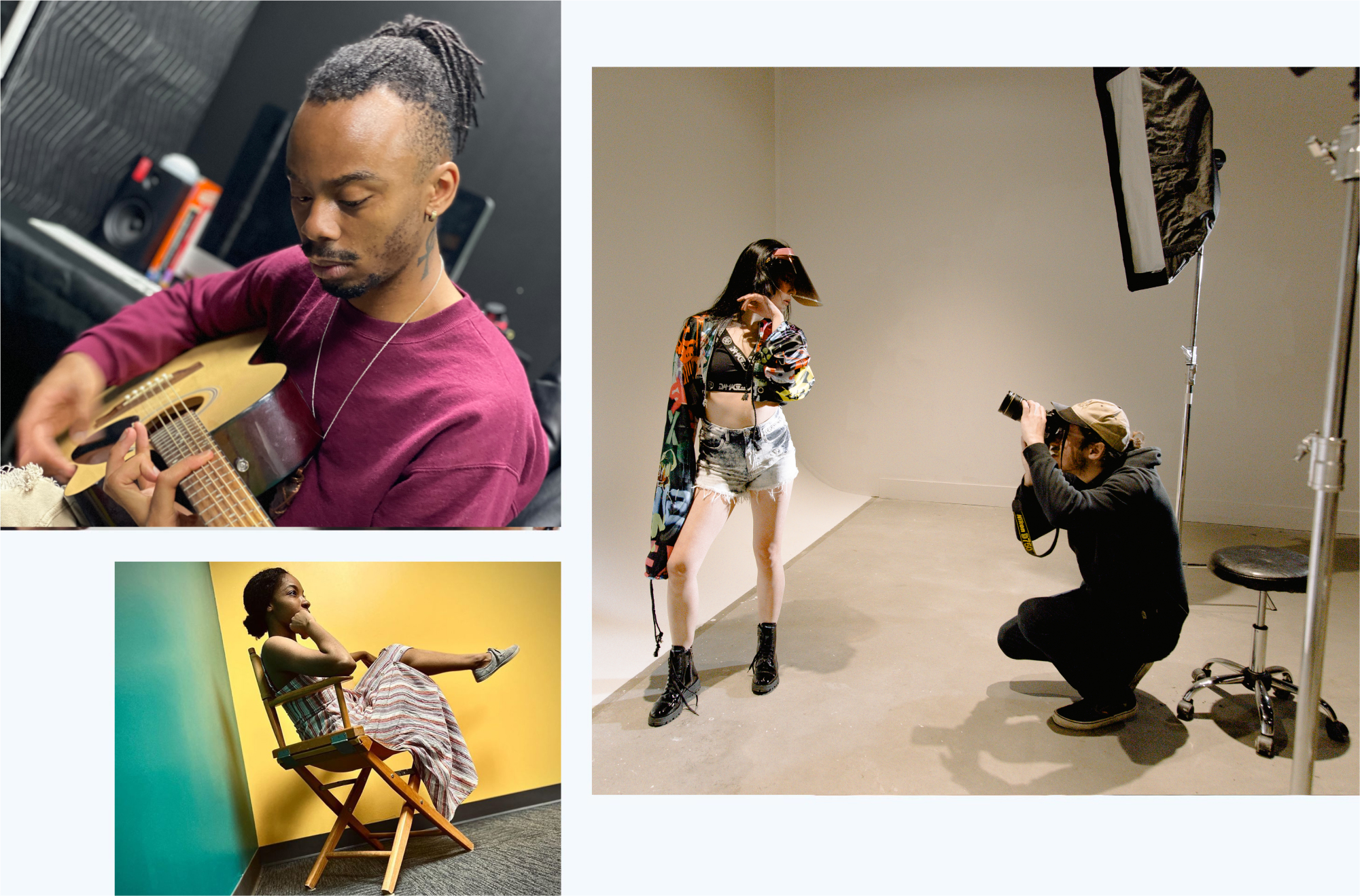 EXP Studio Image of man playing guitar, woman singer in director chair thinking and man photographer taking a picture of female model