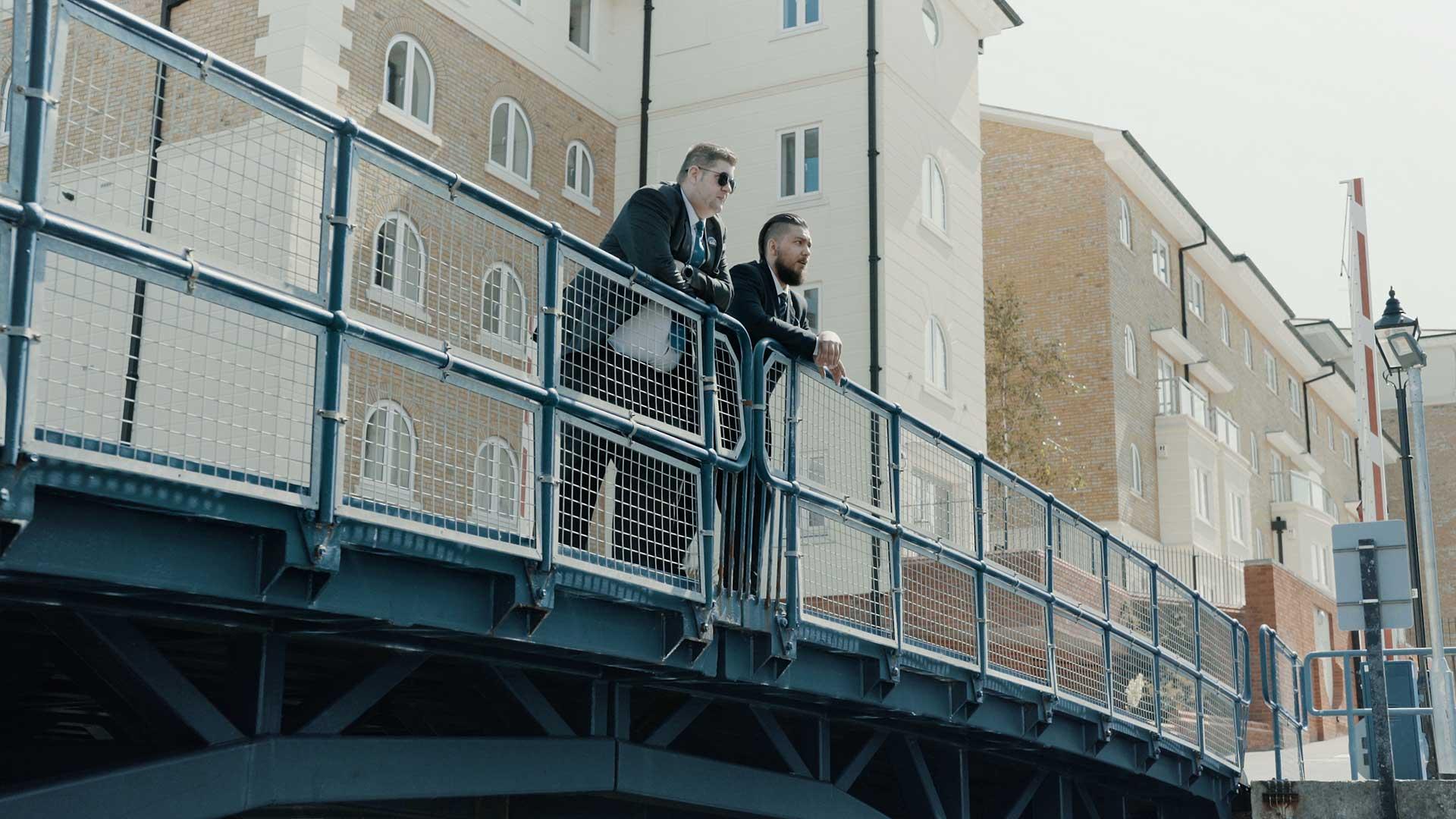 AP Security guards patrolling a bridge