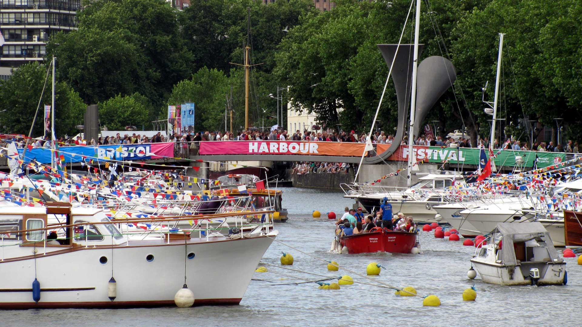 Boating event with yachts in harbour