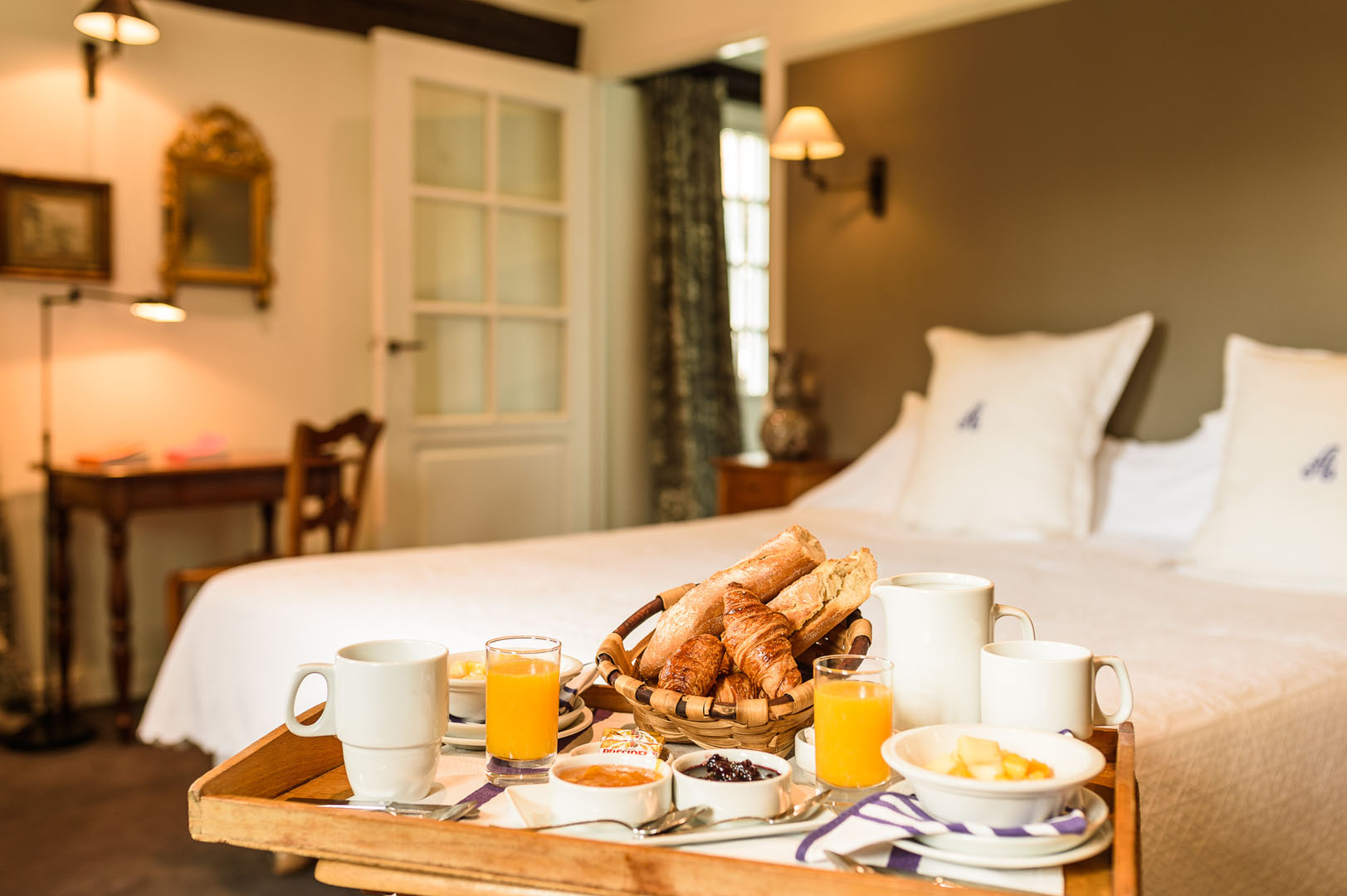 Room with breakfast tray