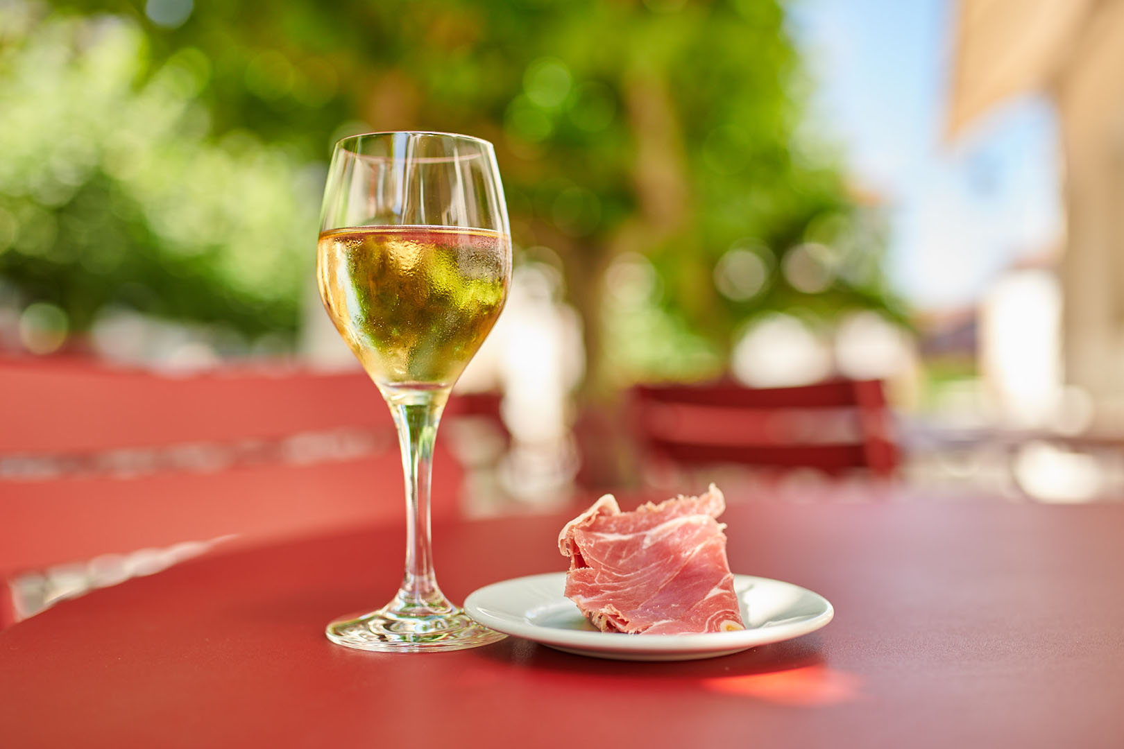 Wine and ham on the terrace