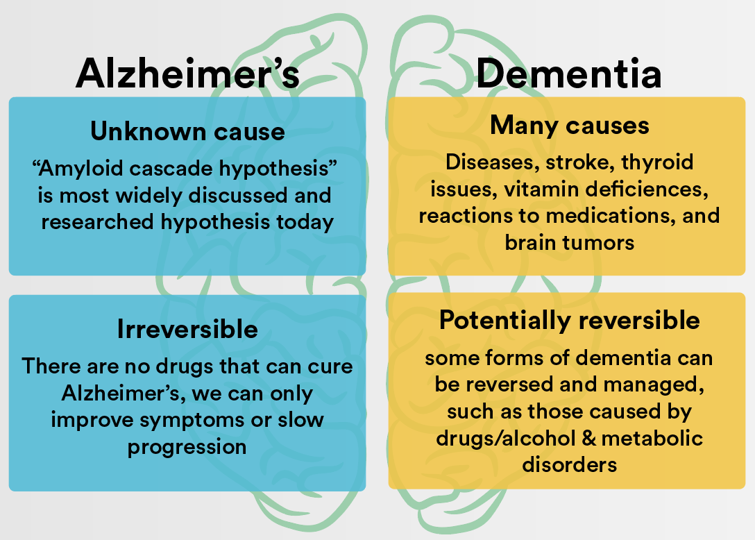 Causes of Alzheimer's vs dementia