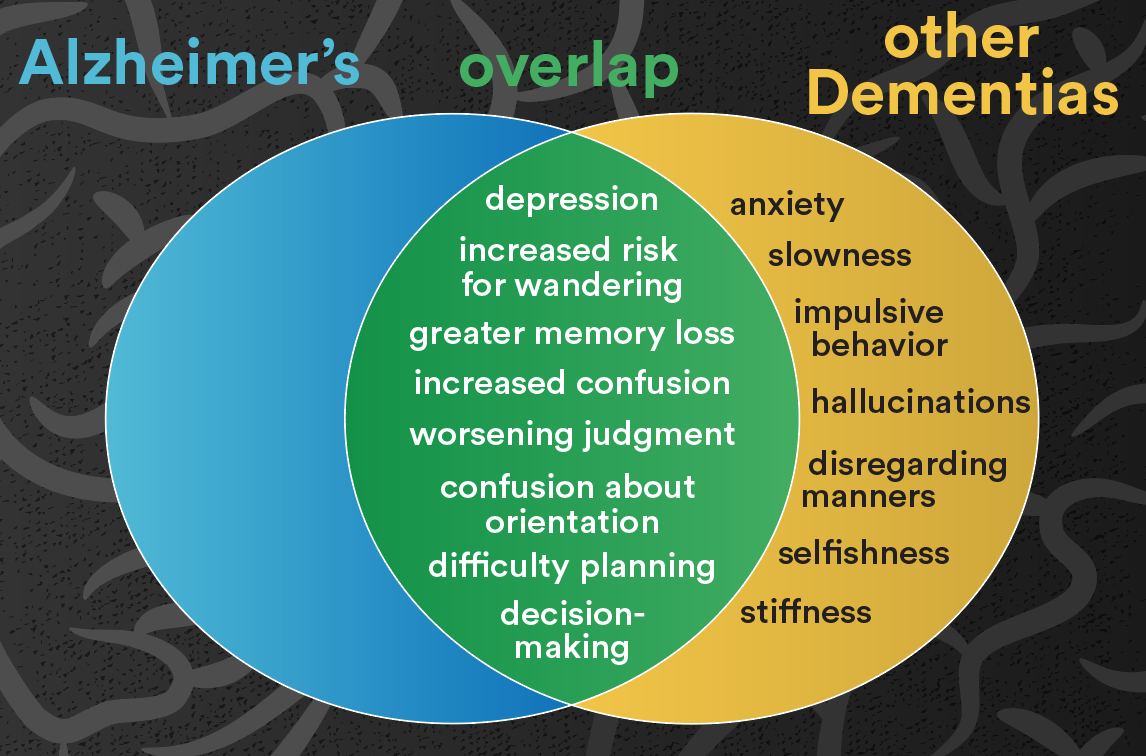 Middle stage symptoms: Alzheimer's vs dementia