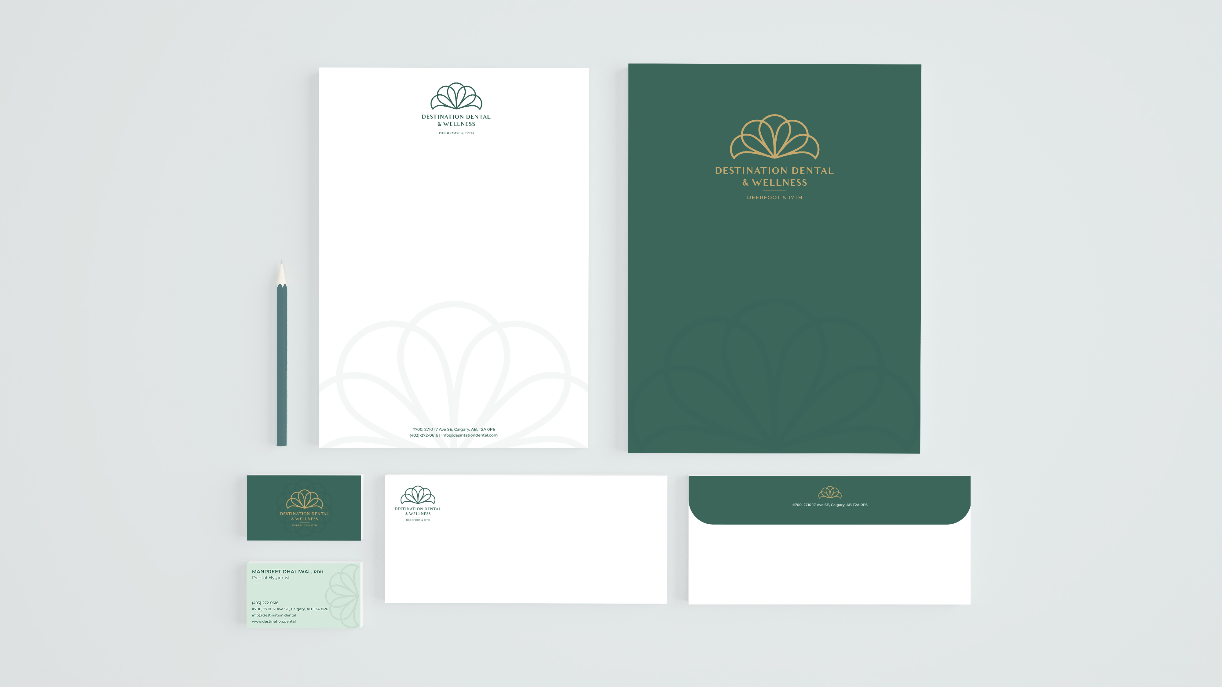 Brand application mockups for Destination Dental & Wellness