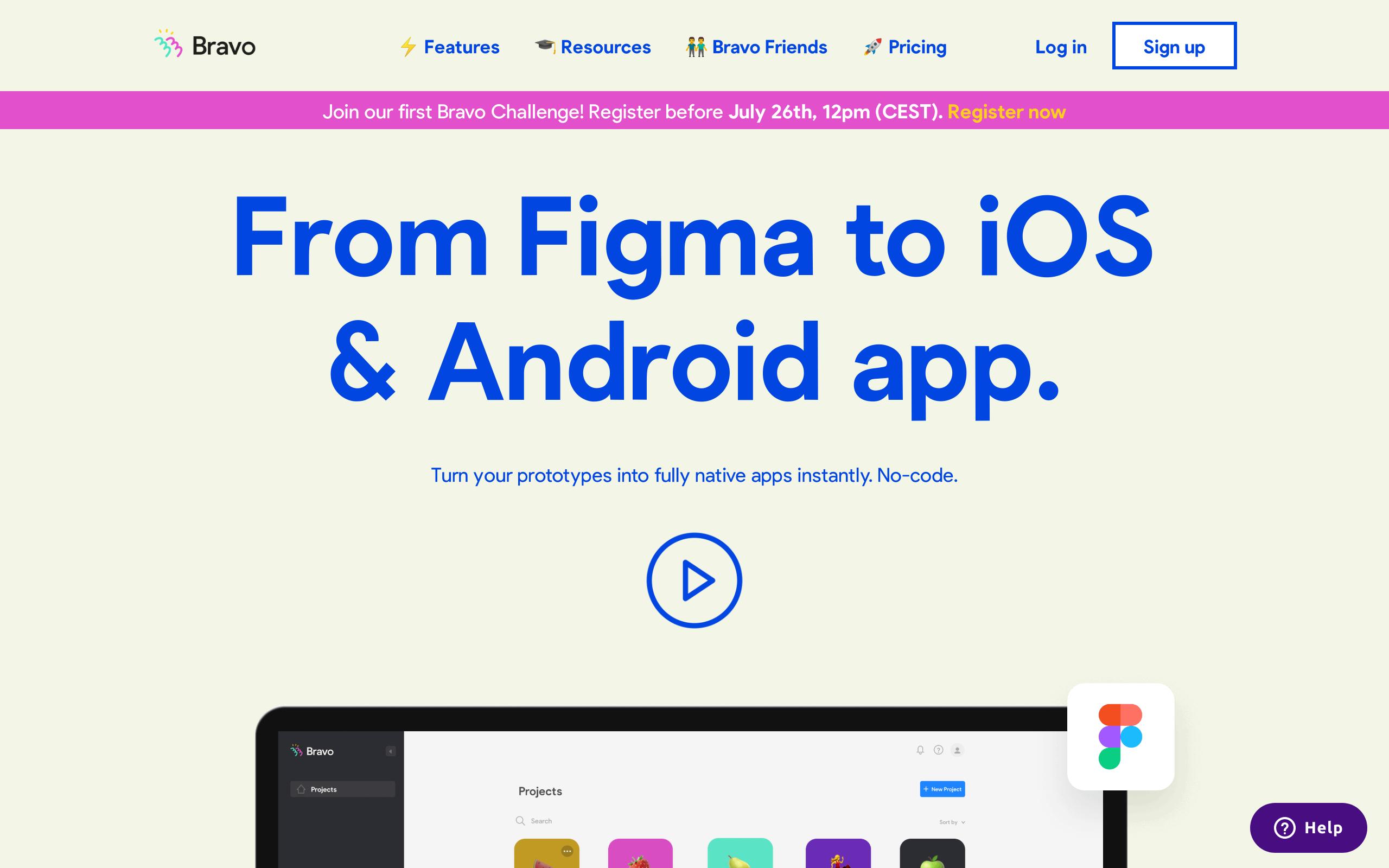 Screenshot of Bravo studio no-code tool for App builders