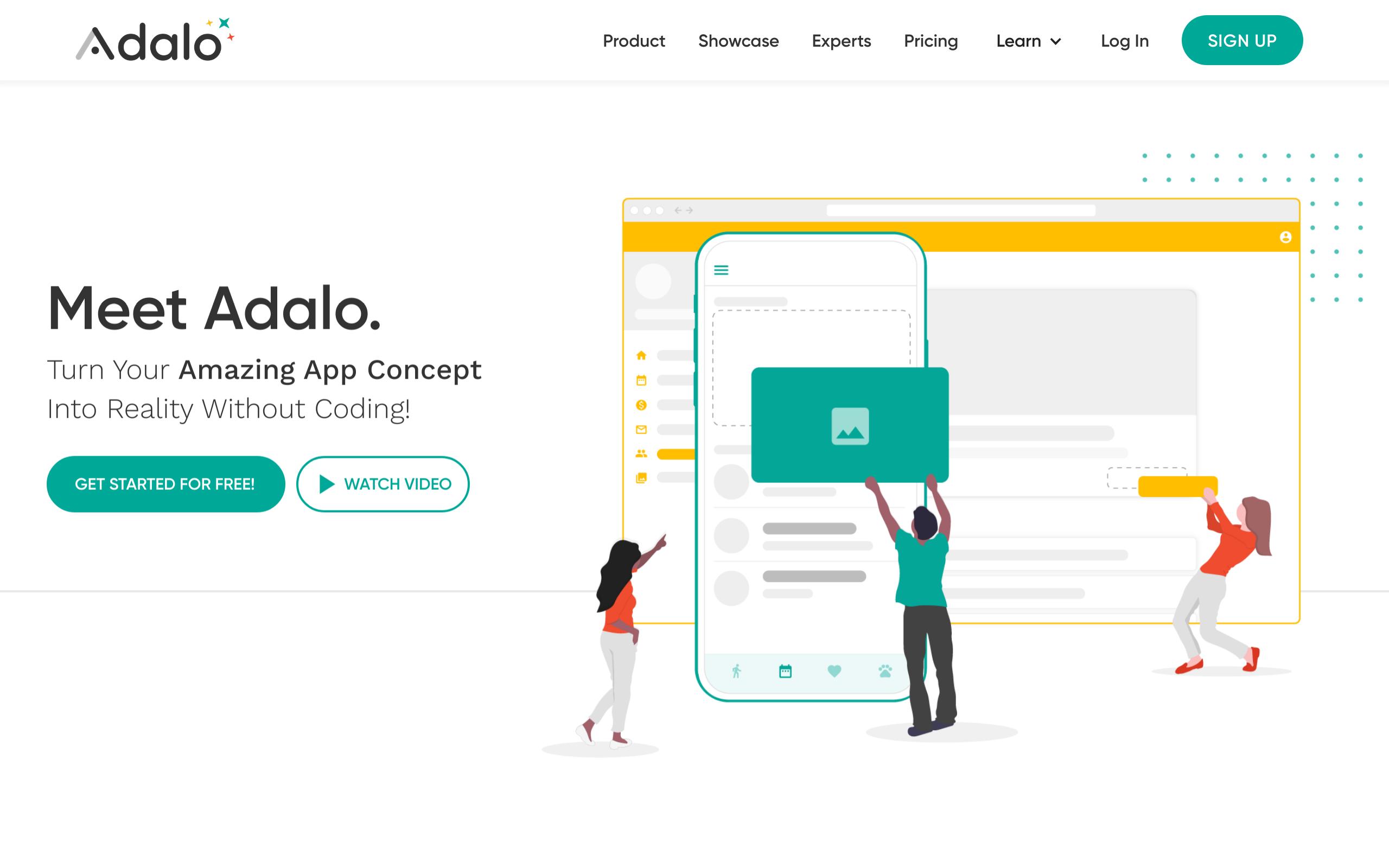 Screenshot of Adalo no-code tool for App builders