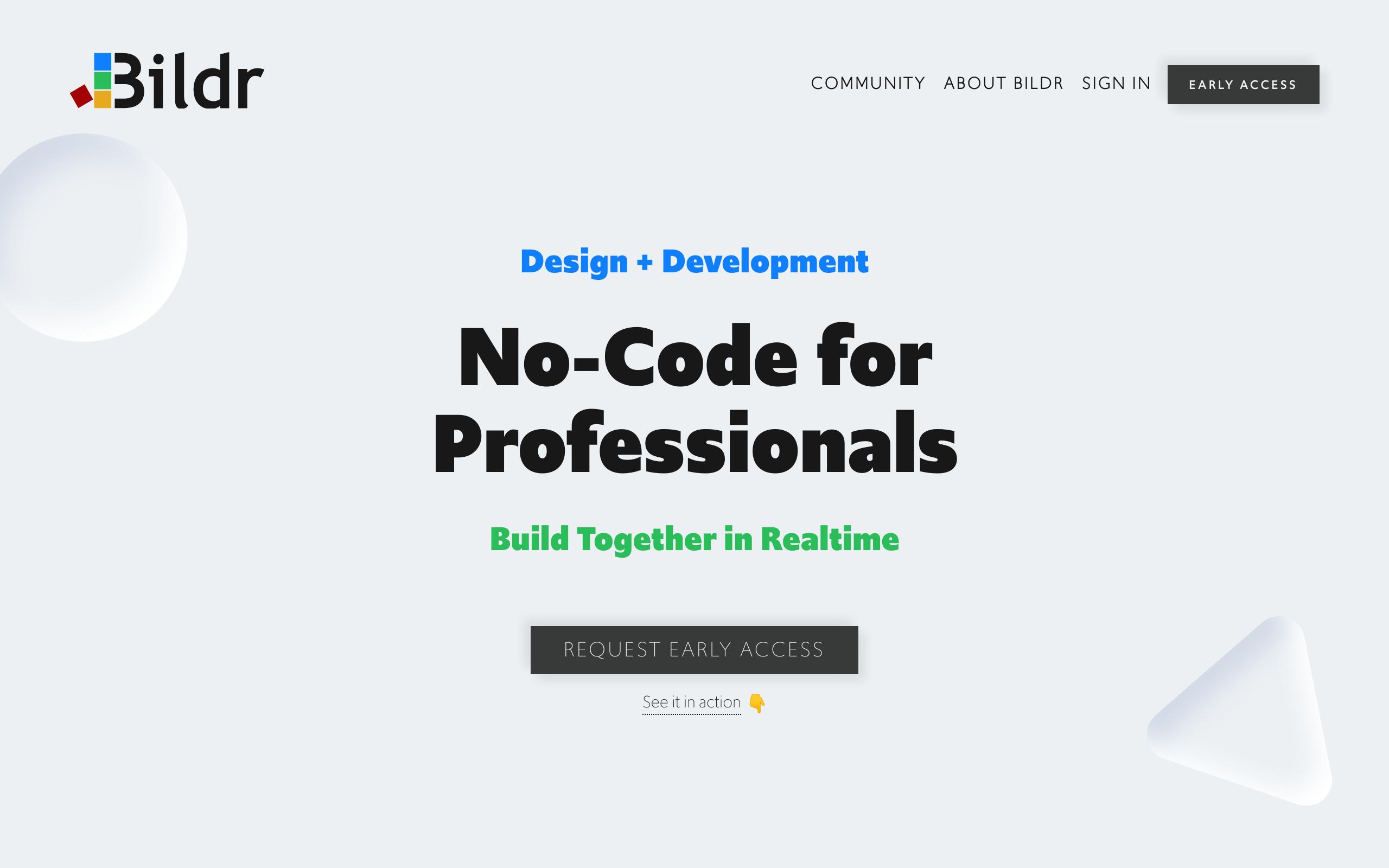 Screenshot of Bildr no-code tool for App builders