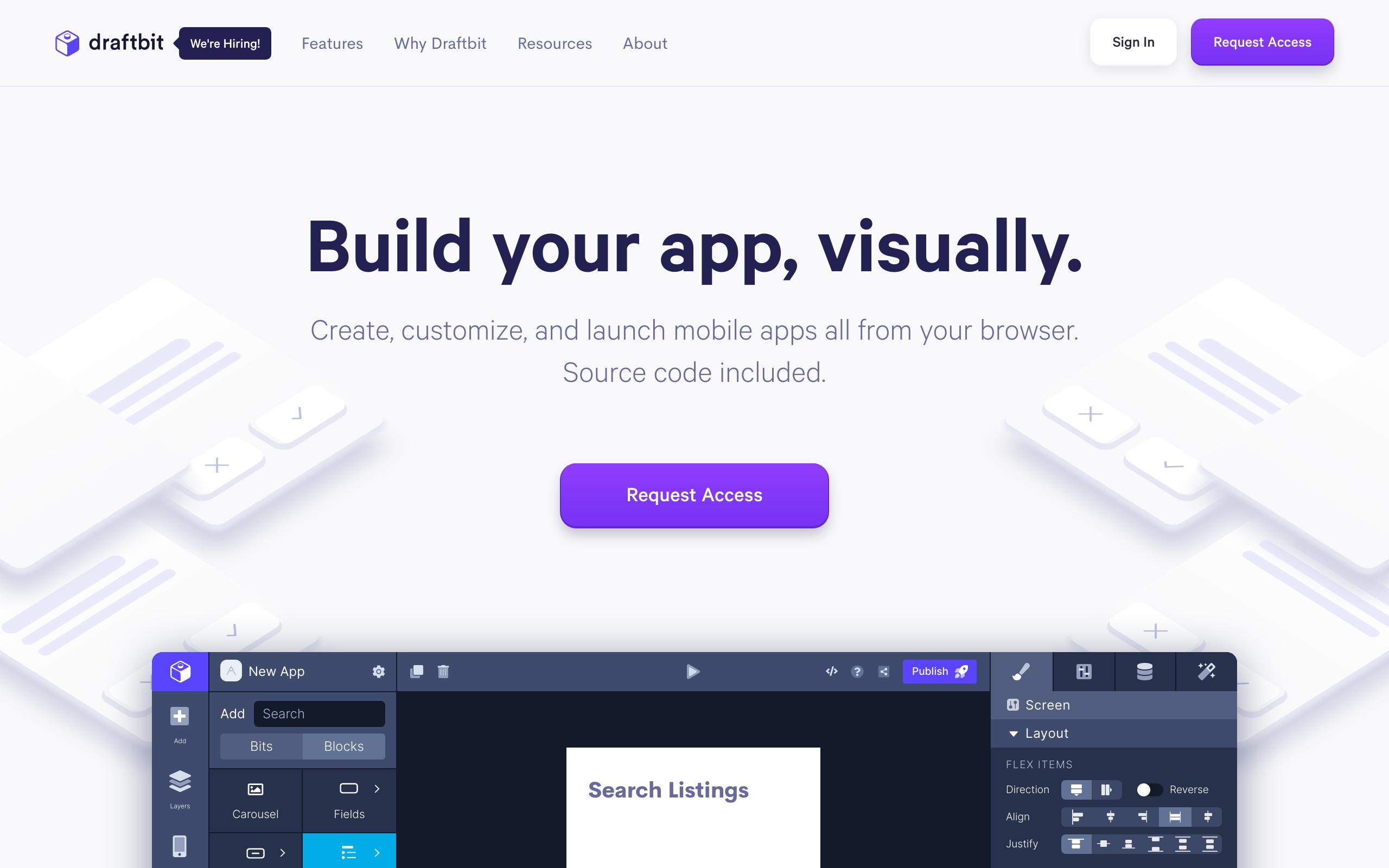 Screenshot of DraftBit no-code tool for App builders