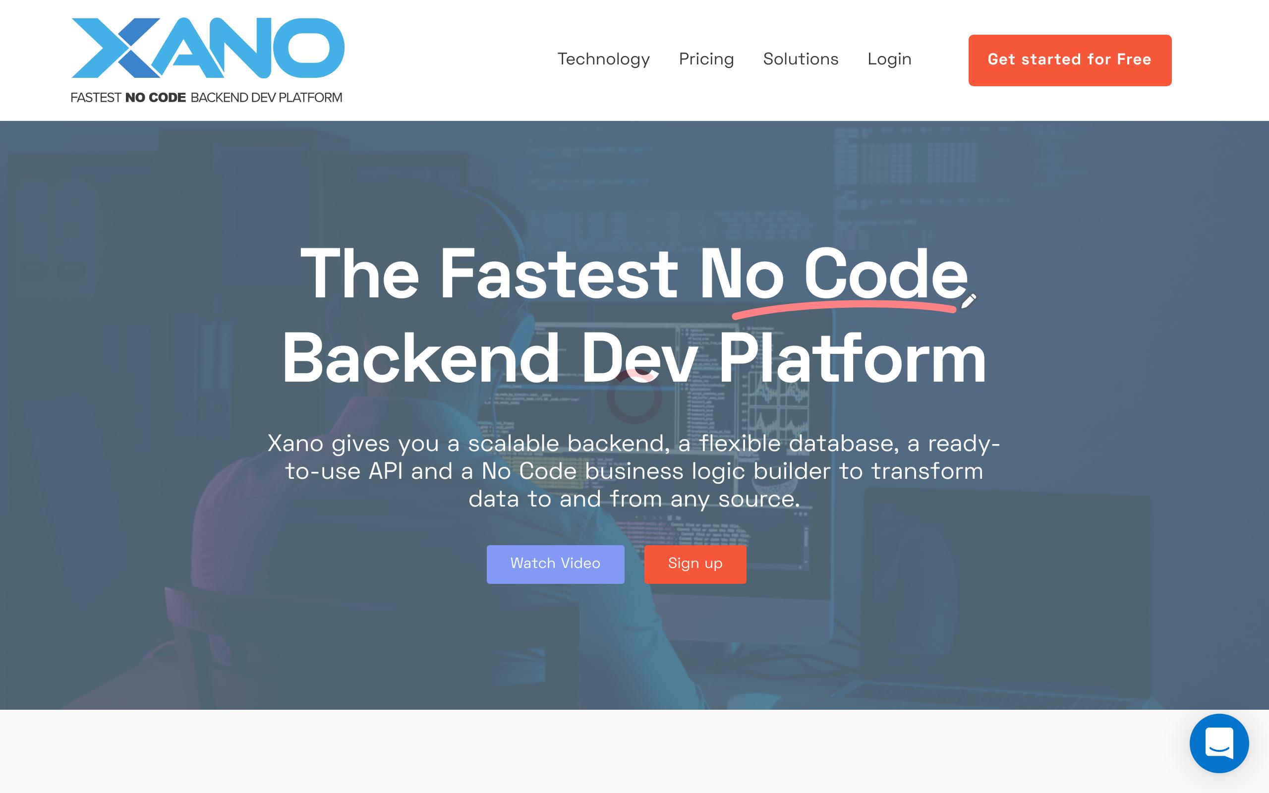 Screenshot of Xano no-code tool for Databases