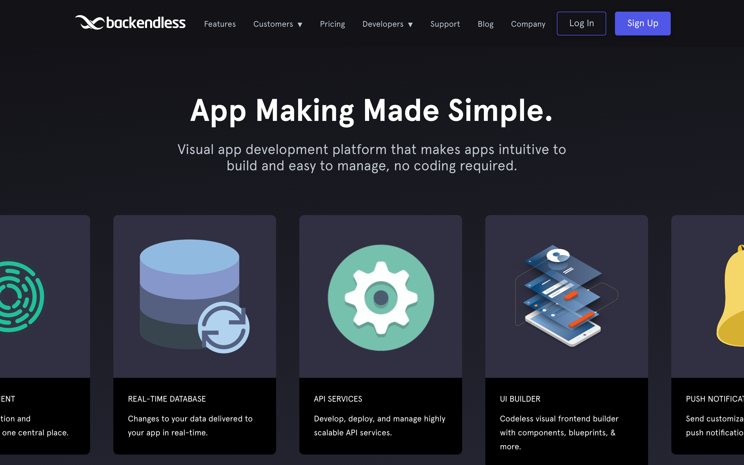 Screenshot of Backendless no-code tool for App builders