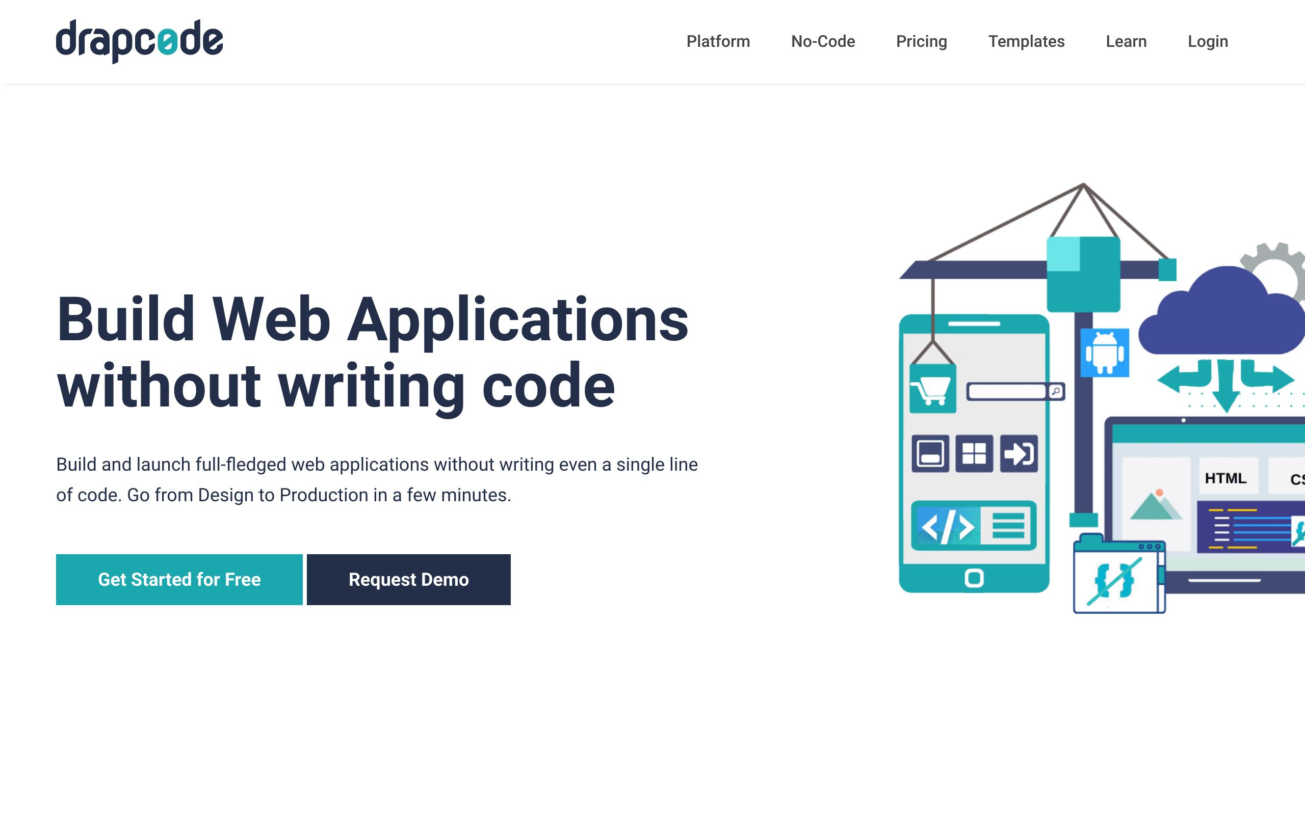 Screenshot of Drapcode no-code tool for App builders