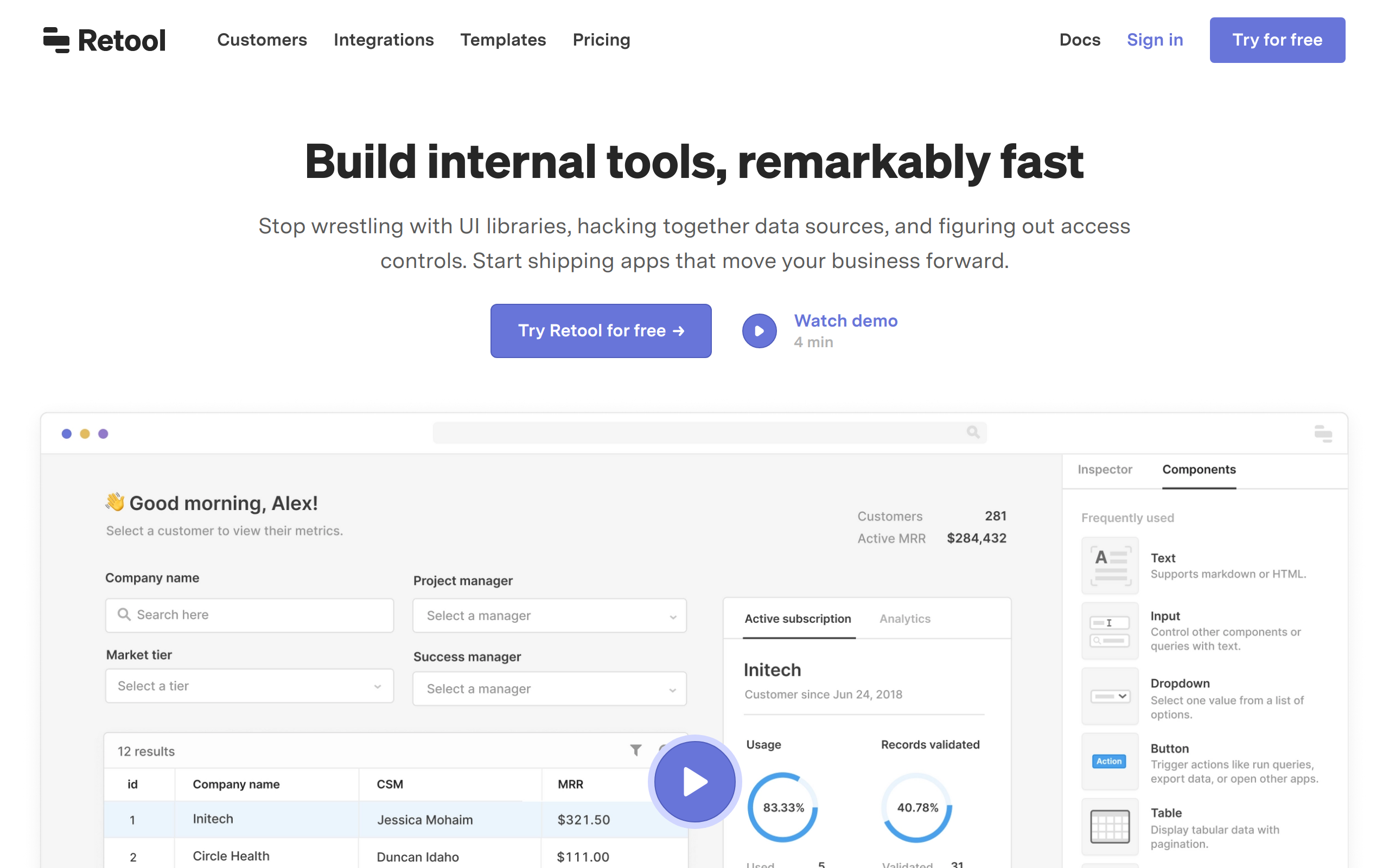 Screenshot of Retool no-code tool for App builders
