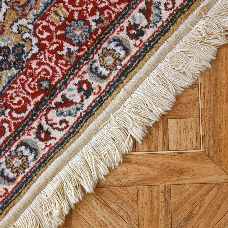 oriental area rug with fringe on hardwood floor