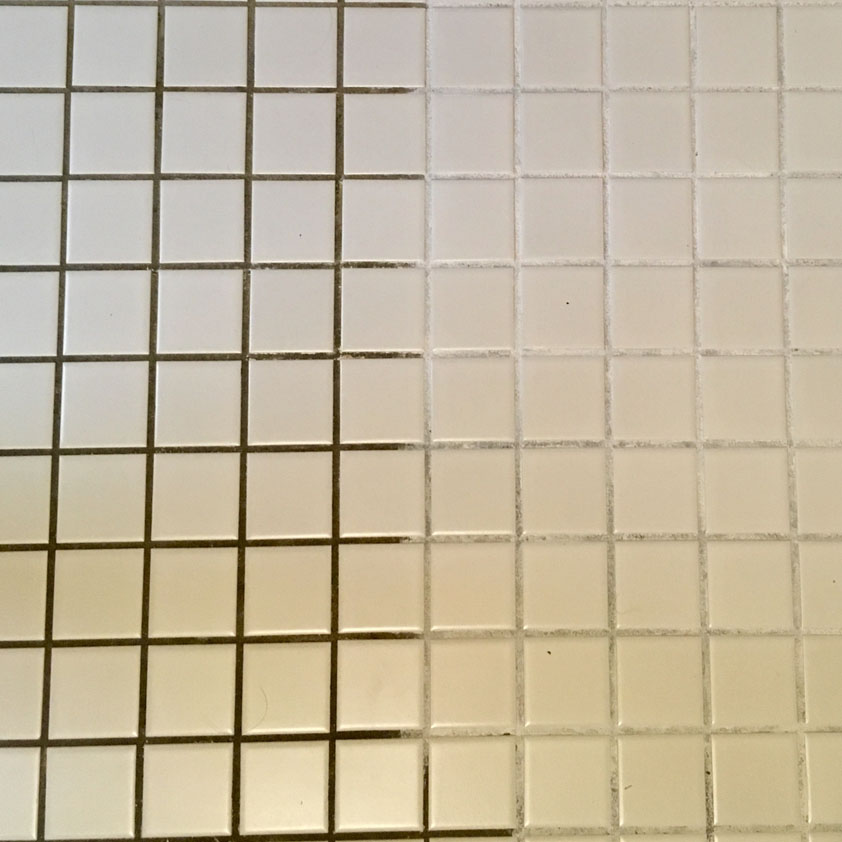 before and after of dirty and clean tile and grout