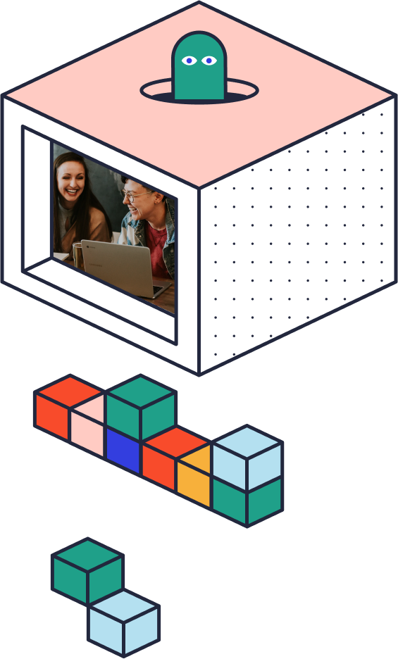 Box with shapes and image of two people smiling