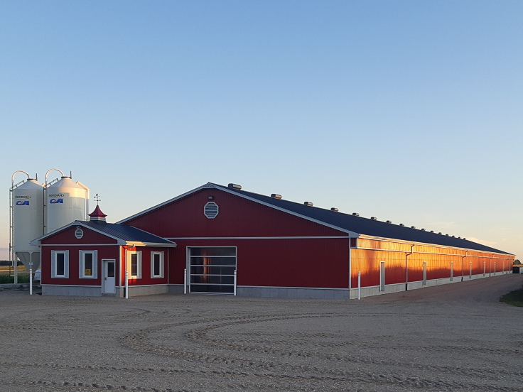A red barn with white trim and a dark metal roof.