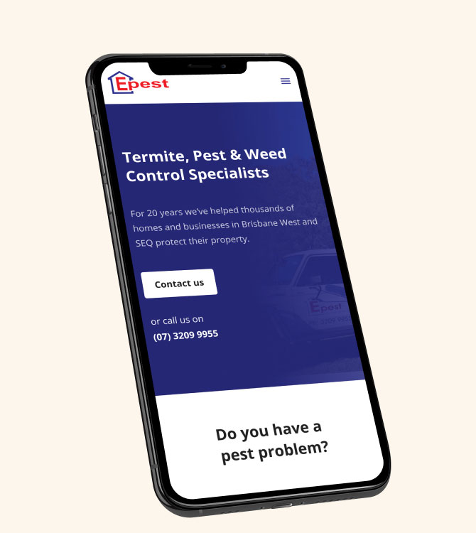 The Epest Pest Control Website being shown in a phone mockup display