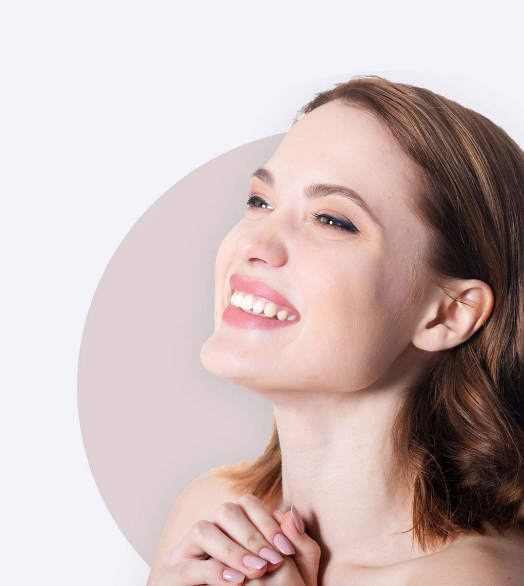 an image of a woman used as part of the hero section on The Aesthetic Company Website