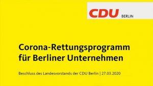 Grafik Corona Rettungsprogramm für Berliner Unternehmen