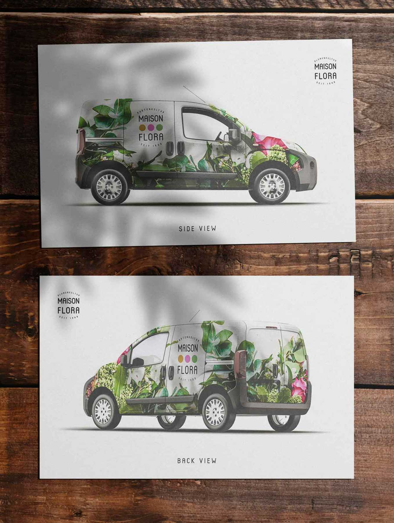 Fahrzeug Beschriftung Gestaltung für Florist Schweiz