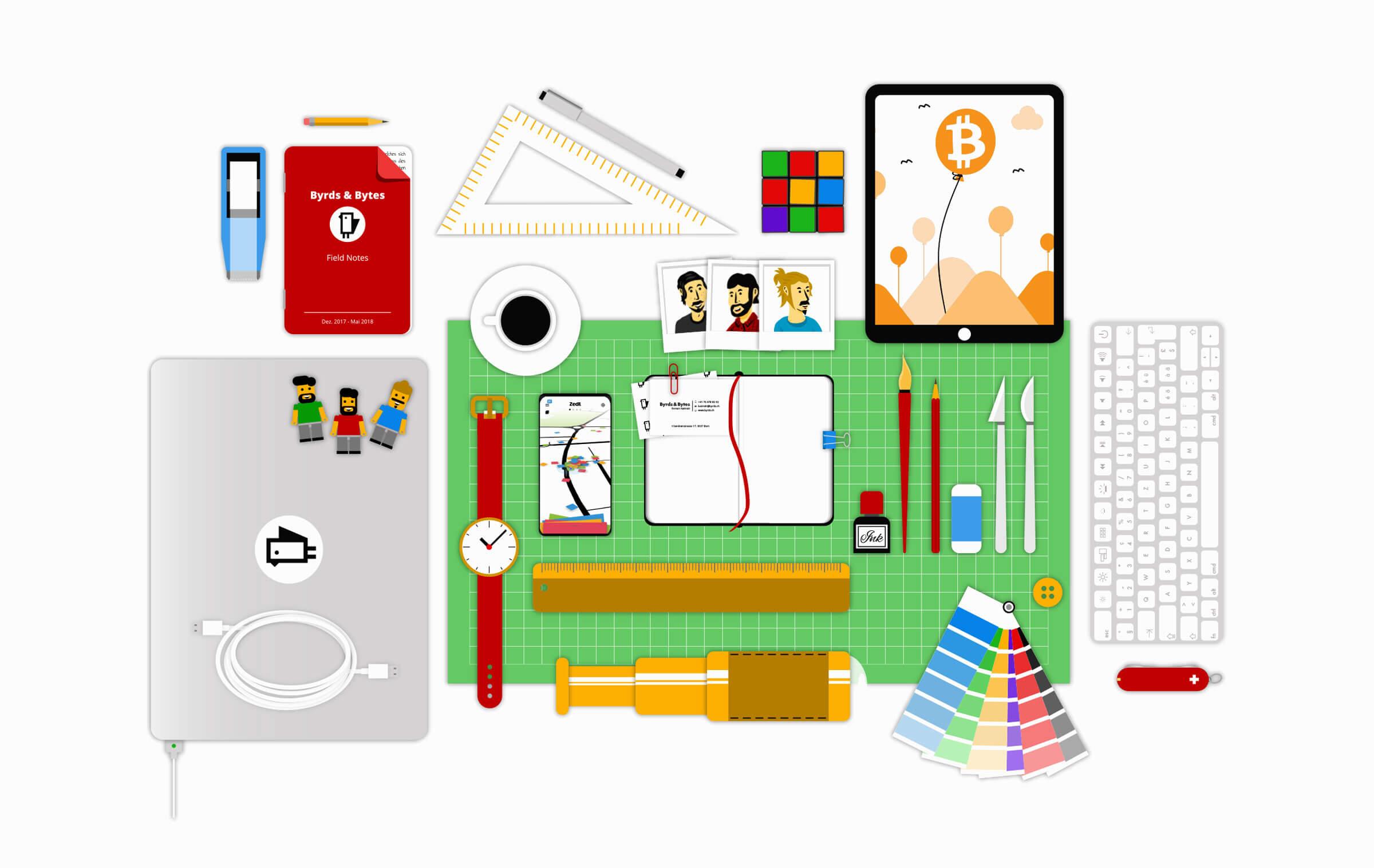 Illustration Arbeitsgerät IT Unternehmen aus Bern