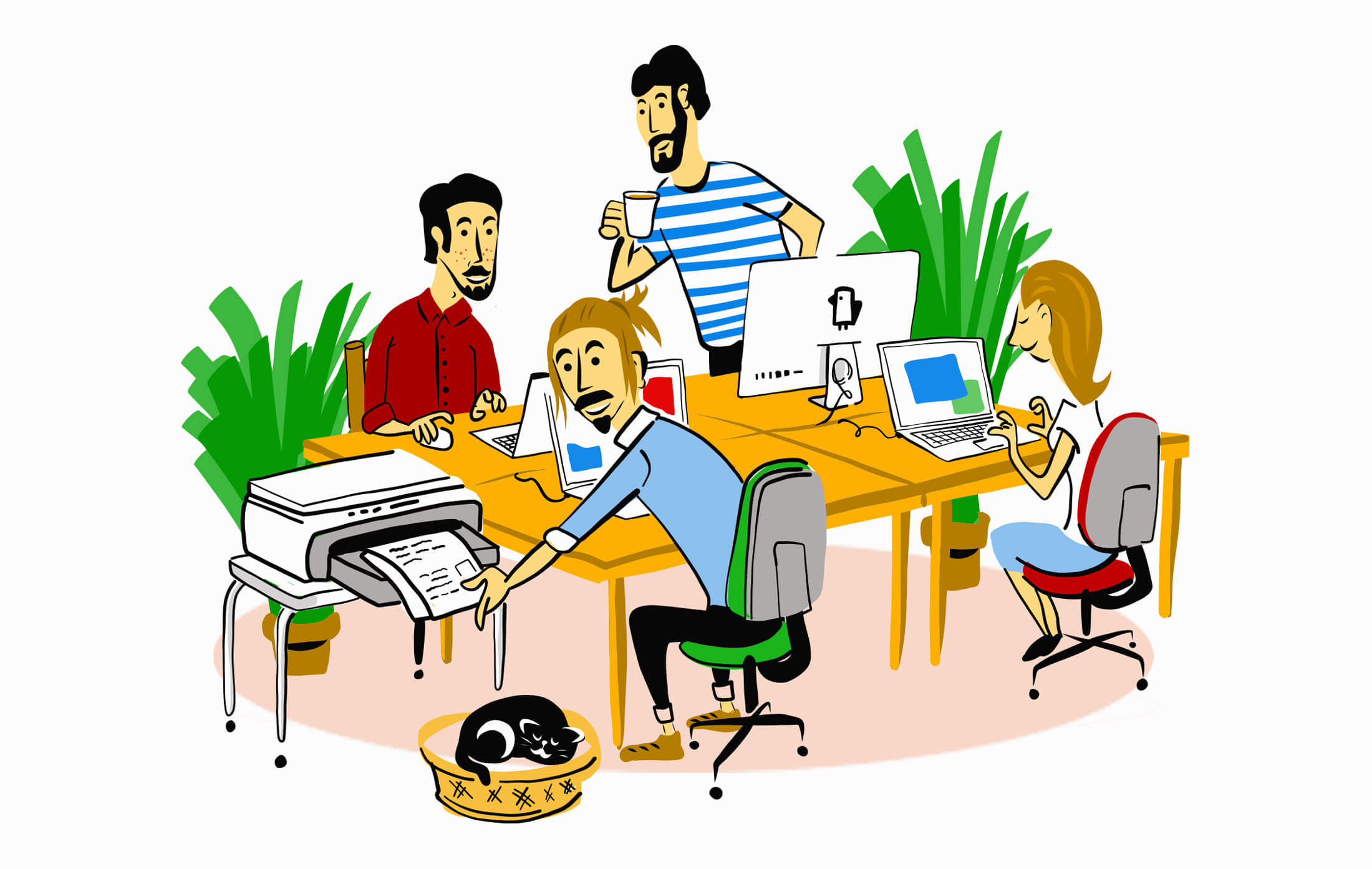 Zeichnung Team Mitglieder Schweizer KMU Firma in Bern
