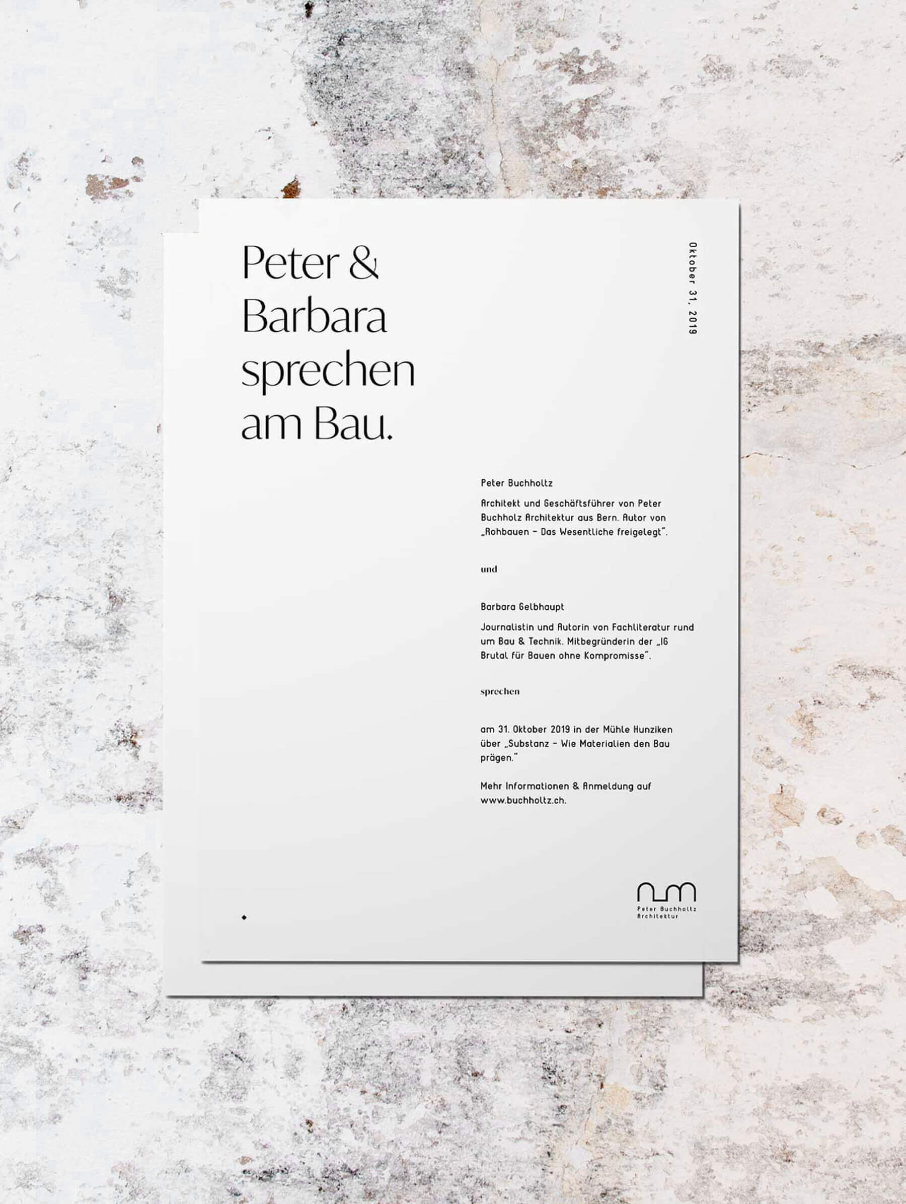 Letter und Briefdesign für Architekt Büro Schweiz