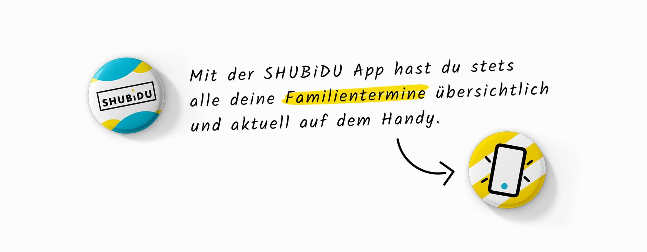Buttons und Slogan für Schweizer App