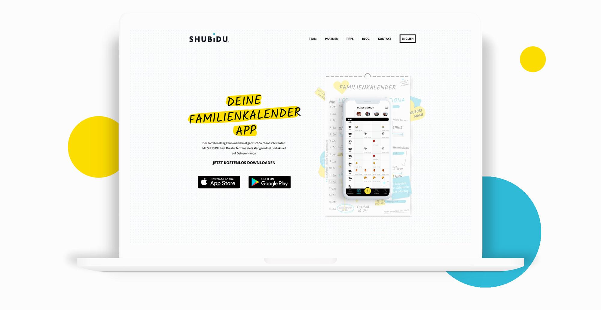 Webdesign mit Call to Action für Schweizer App