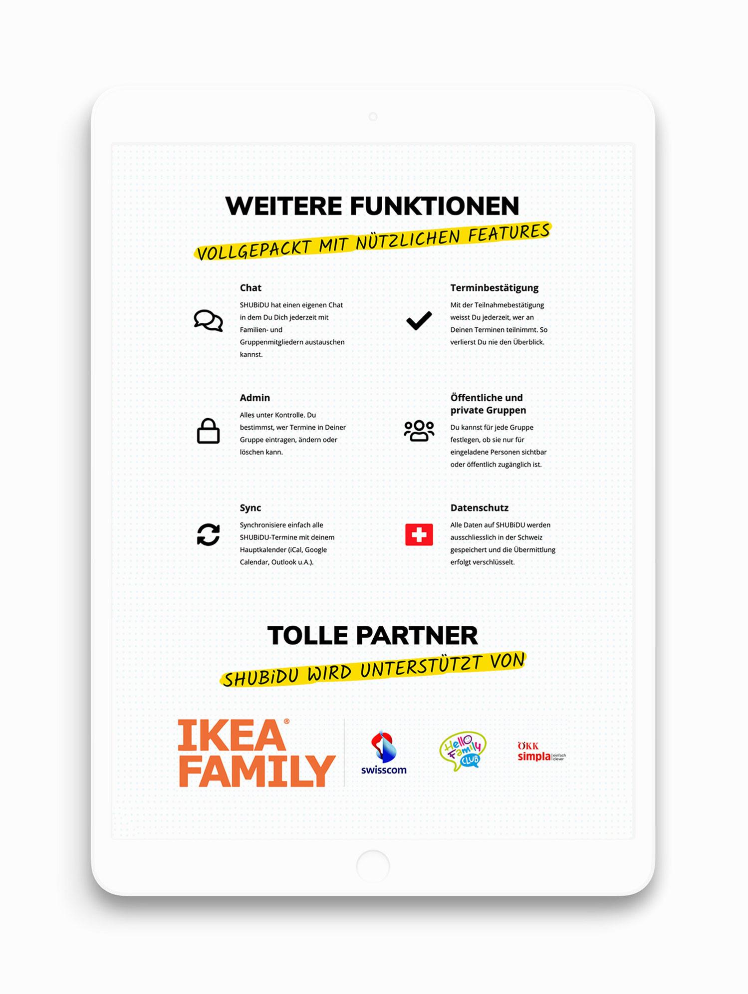 Responsive Webdesign für Webseite von Schweizer App