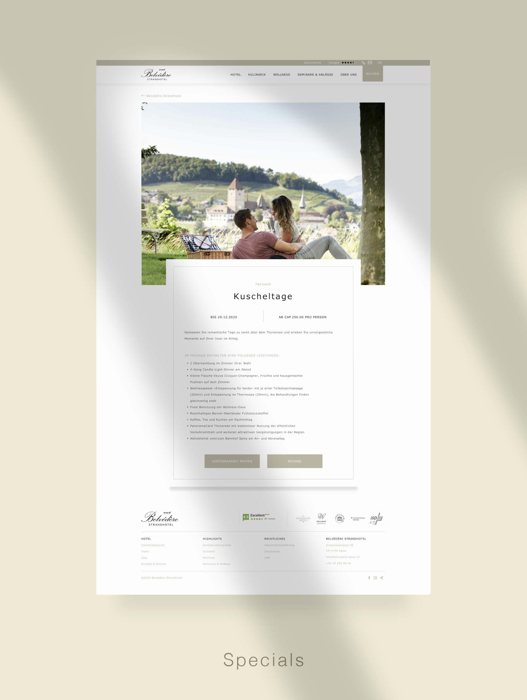 Landingpage für Kampagnen - Entwicklung Webseite für Hotel Schweiz