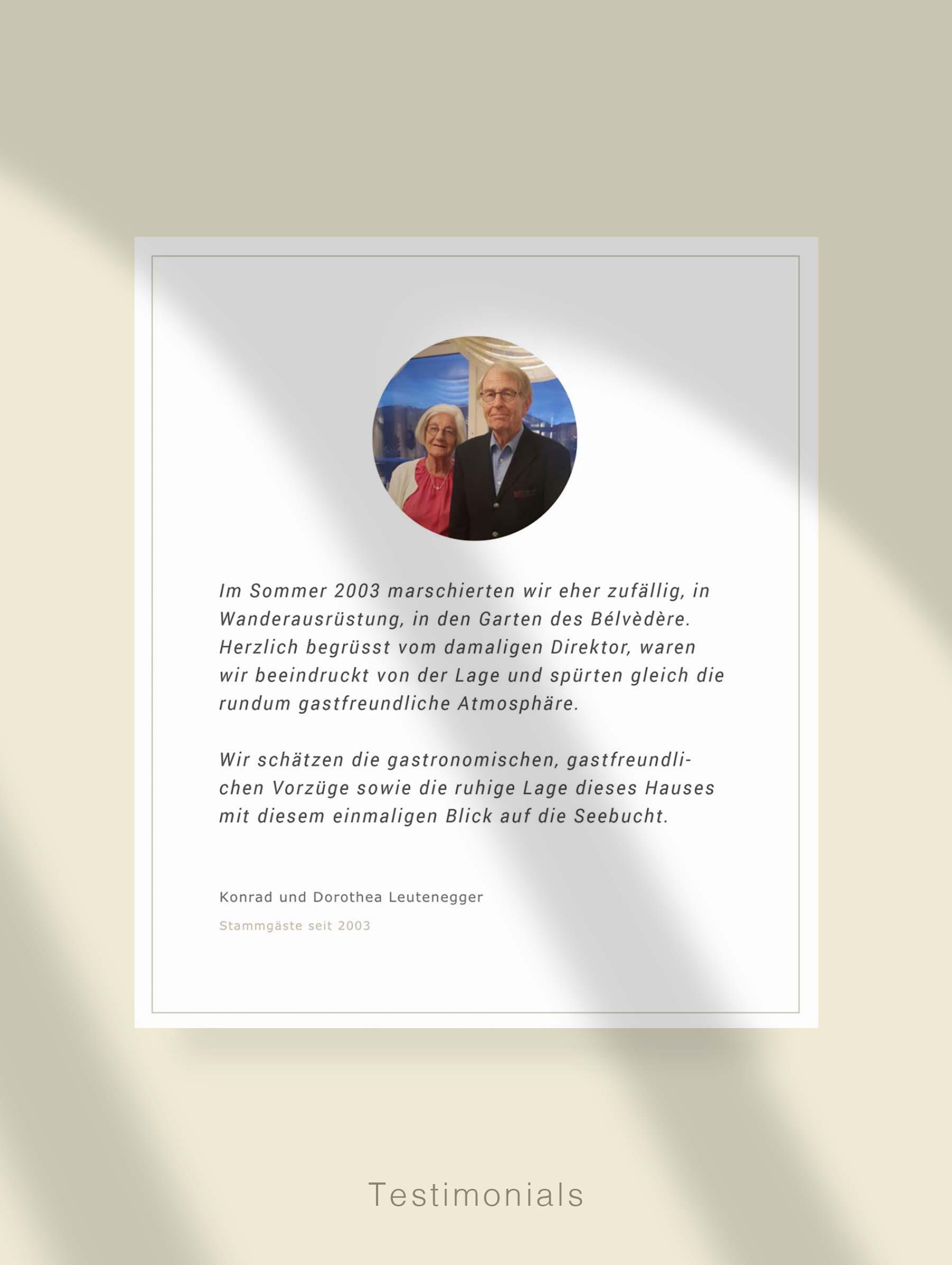 Modul für Kundenzitate - Entwicklung Webseite für Hotel Schweiz