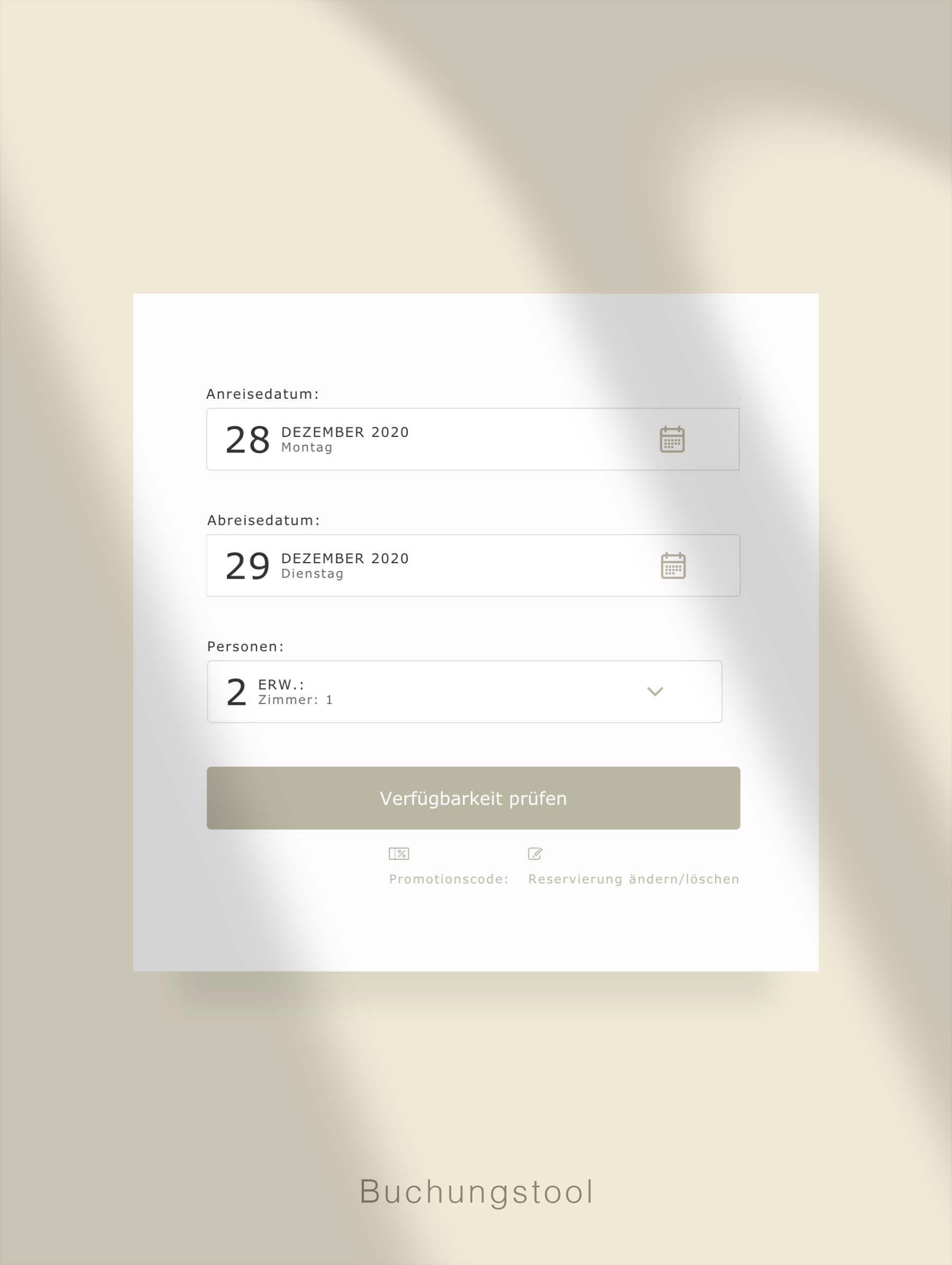 Zimmer buchen auf Webseite - Entwicklung Webseite für Hotel Schweiz
