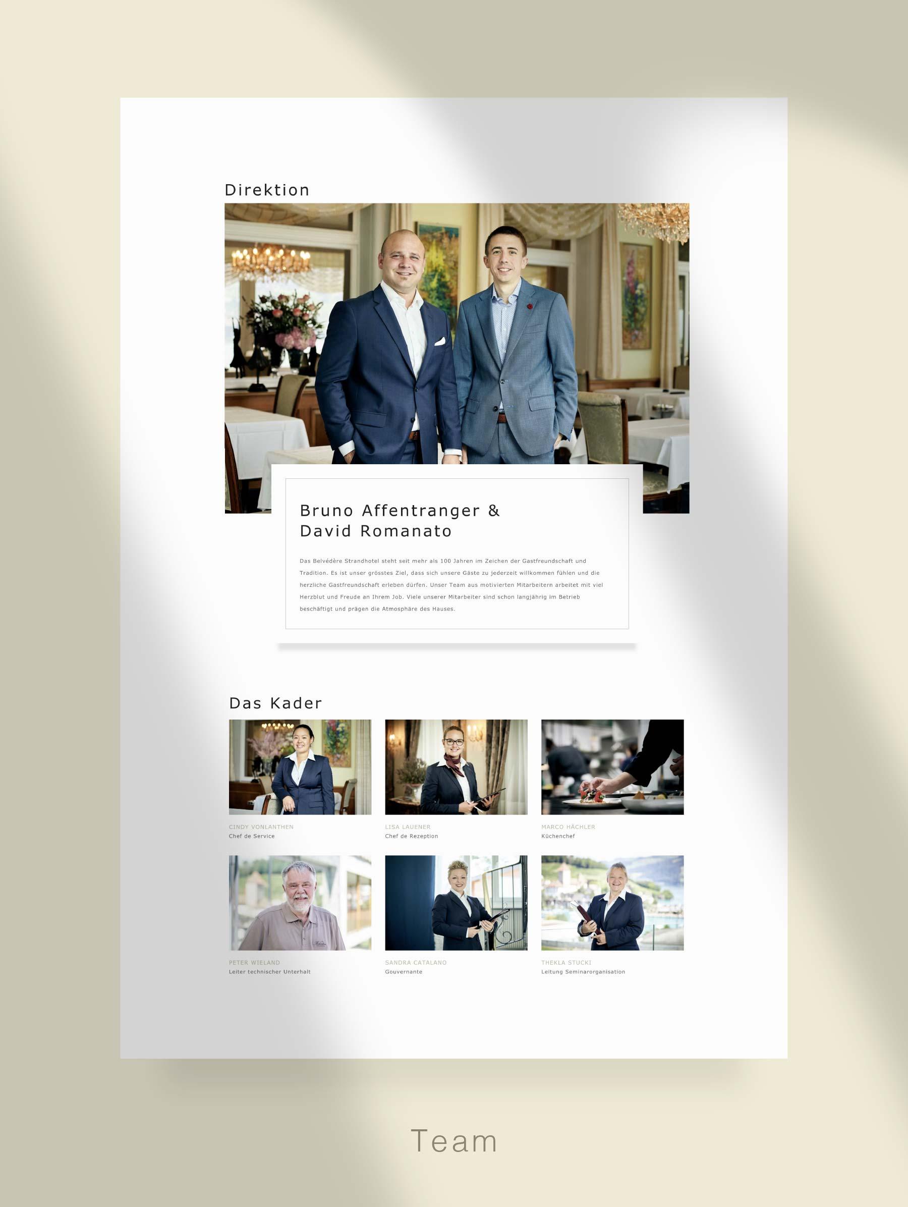 Seite Team - Entwicklung Webseite für Hotel Schweiz