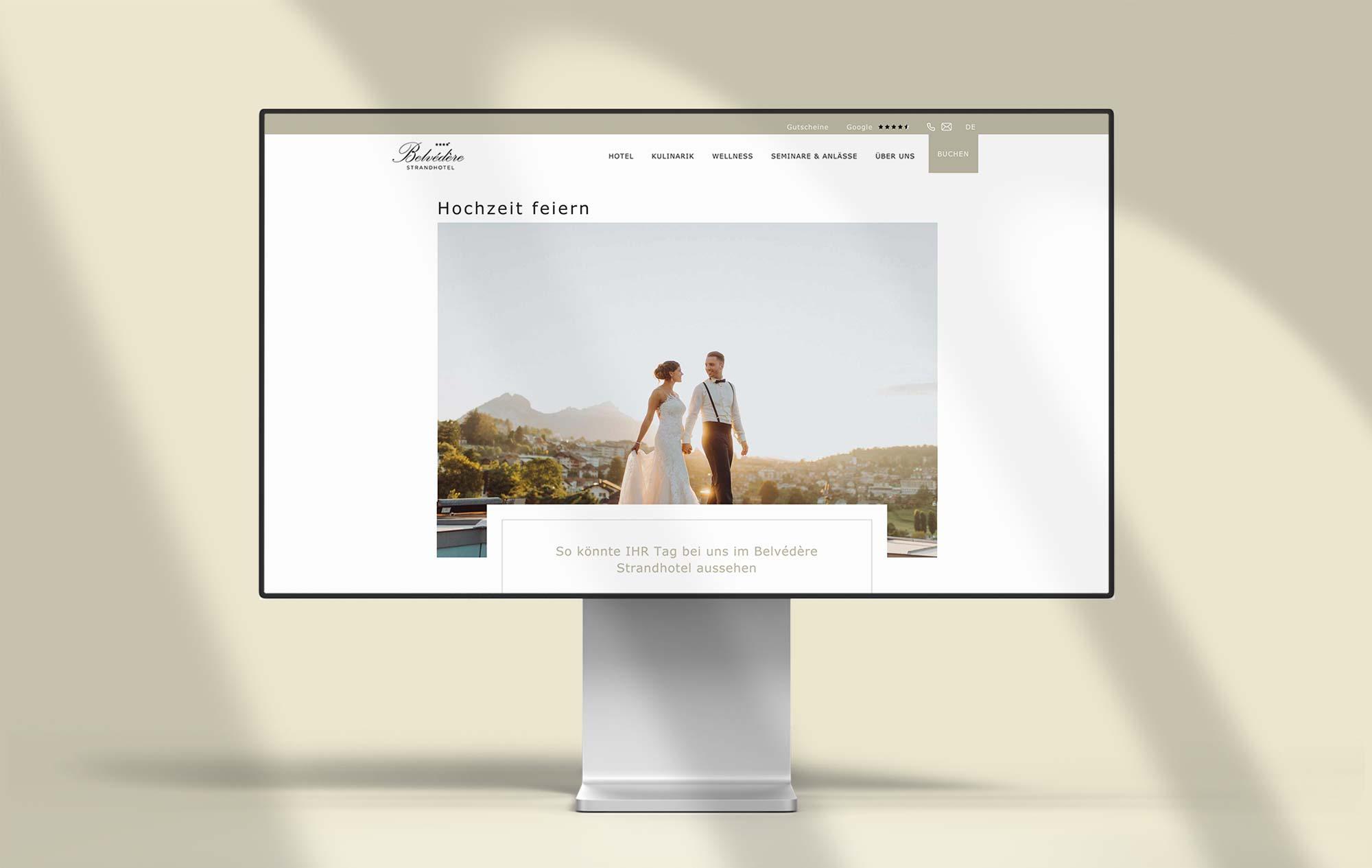 Design Hochzeiten feiern  - Entwicklung Webseite für Hotel Schweiz