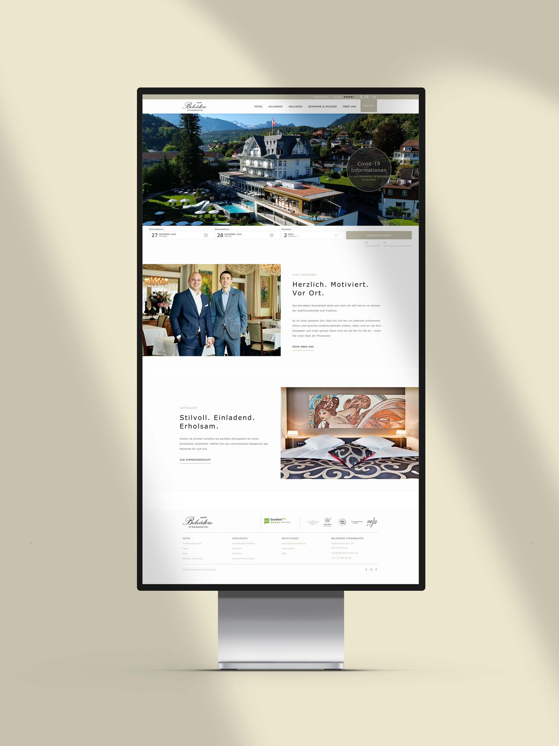Design Landingpage - Website development for Hotel Switzerland