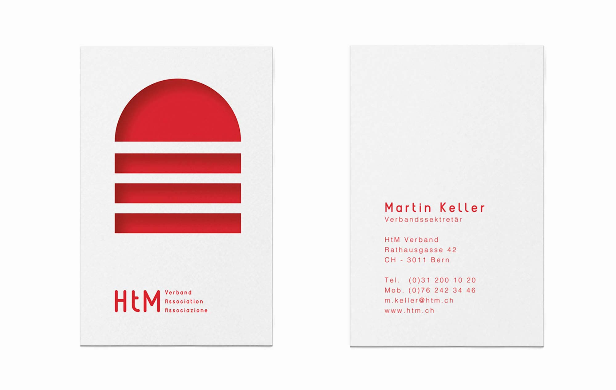 Design Vorder- und Rückseite Visitenkarten für Schweizer Verband