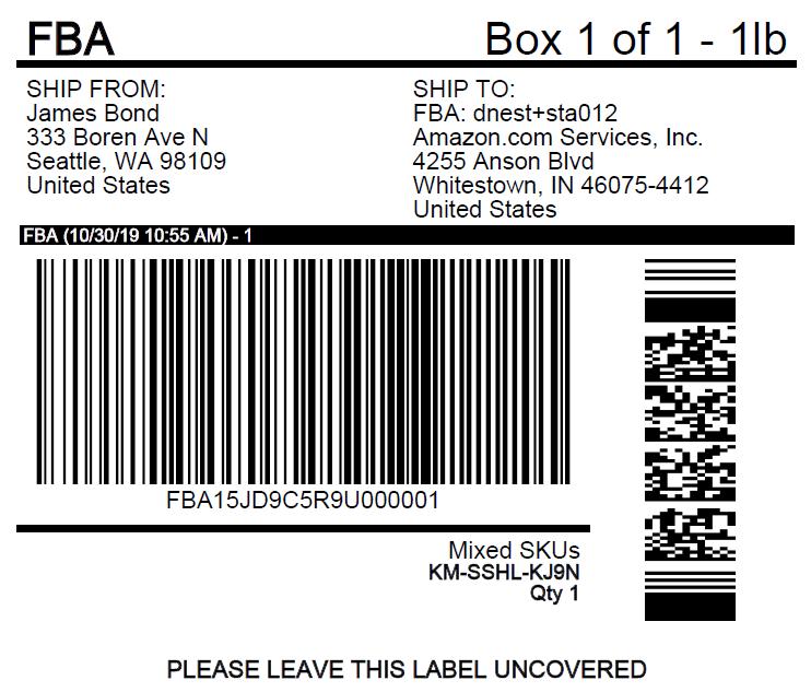 amazon fba shipping label