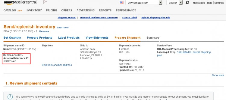 Bookairfreight amazon reference ID example