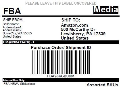 Bookairfreight Amazon FBA shipping label example