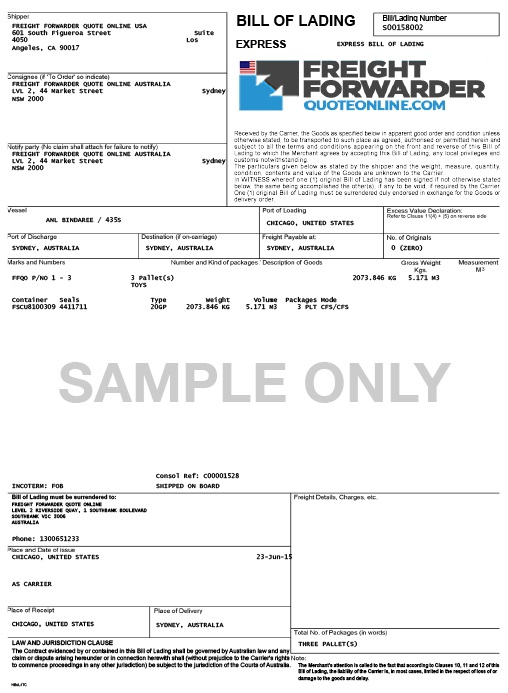 Bookairfreight what is bill of lading BOL example