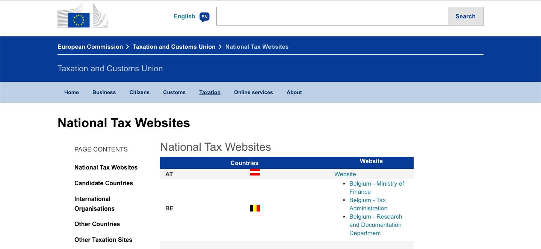 National Tax Website screenshot