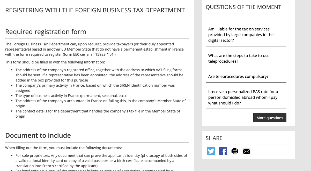 Registering with foreign business tax department