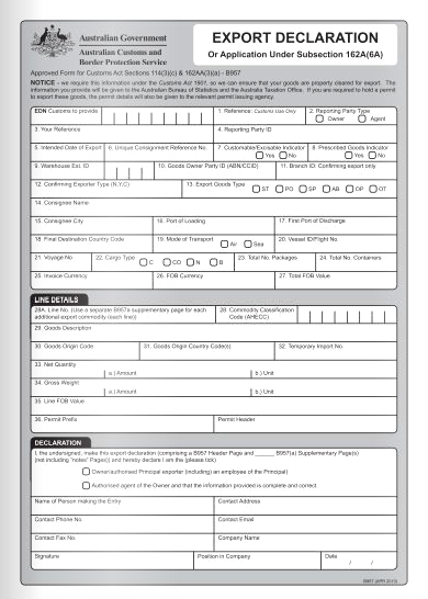 example of an Australian Exports Declaration Form