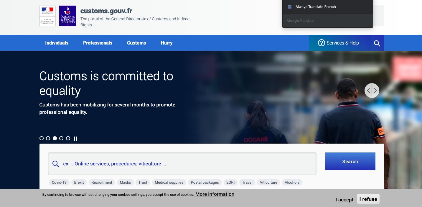 Example of customs authority website