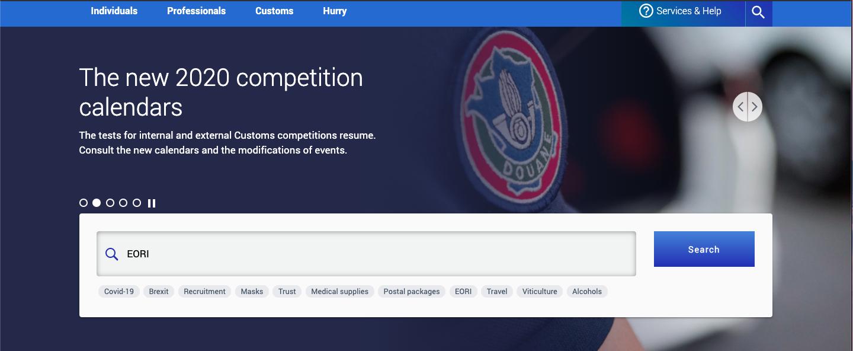 Customs authority website